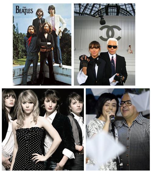 O quarteto de Liverpool, Cat Power de luvinhas Chanel e Karl Lagerfeld de acessório, as músico-fashionistas do Plasticines e Fernanda Takai com Ronaldo Fraga no desfile dele na SPFW.
