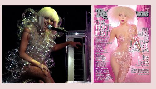roupa-bolha em show e na capa da Rolling Stone